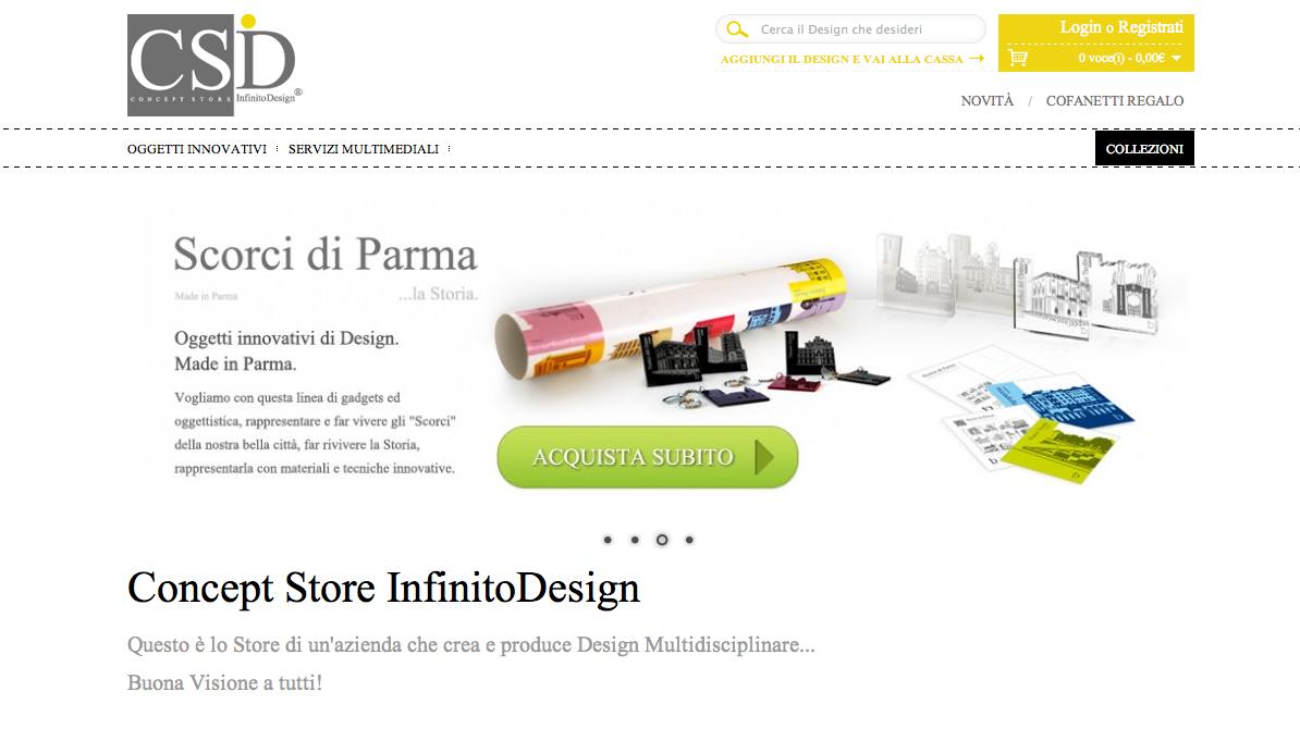 Conceptstore infinitodesign tutto made in italy per for Prodotti di design
