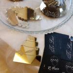 """Bomboniere - Segnaposto """"Wedding Cake"""" in Plexiglass a Specchio Oro/Argento Incise"""